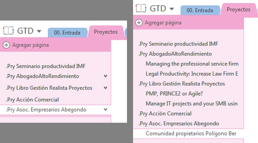 Proyectos GTD en OneNote