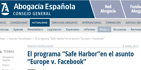 "CGAE Safe Harbor y postura ante ""Europe v. Facebook"""