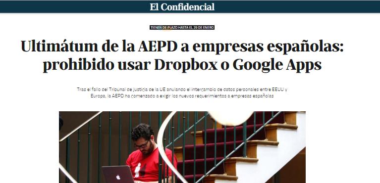 Noticia de El Confidencial alarmando sobre un hipotético ultimátum de la AEPD sobre Dropbox o Google Apps