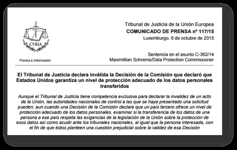 Tribunal Justicia Unión Europea Comunicado acerca invalidez Safe Harbor